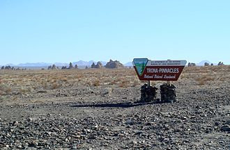National Natural Landmark - The Trona Pinnacles with National Natural Landmark sign
