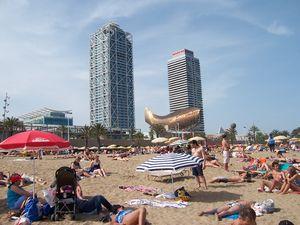 Barceloneta Beach, in Barcelona.