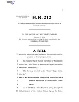 116th United States Congress H. R. 0000212 (1st session) - Solar Villages Initiative Act.pdf
