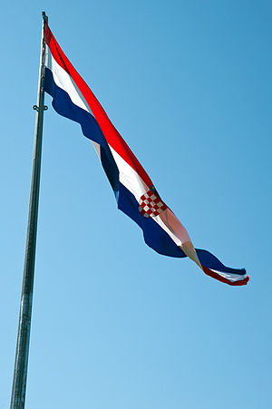 Flag of Croatia - Croatian flag at the Knin Fortress