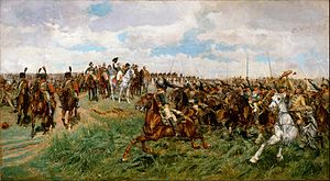 Chasseurs à Cheval de la Garde Impériale - Chasseurs à cheval (on the left) protecting the Emperor at the Battle of Friedland, while cuirassiers salute him before their charge.The Emperor is again in his green colonel uniform of the Chasseurs à Cheval.
