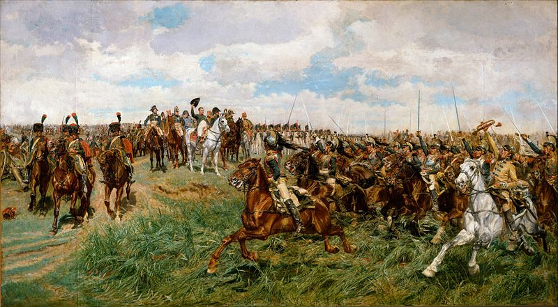 Chasseurs of the Guard (light cavalry) to the left and cuirassier (Heavy cavalry) to the right, at the battle of Friedland. 1807, Friedland.jpg