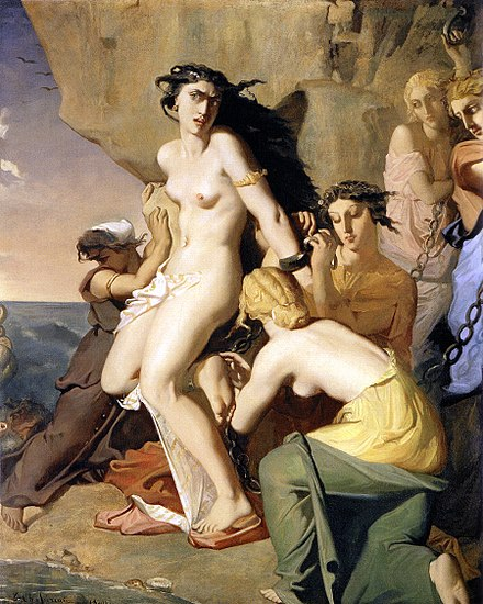 Andromede attachee au rocher par les Nereides, 1840, Paris, Louvre 1840 Chasseriau Theodore - Andromeda Chained to the Rock by the Nereids.jpg