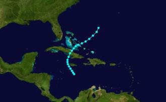 1887 Atlantic hurricane season - Image: 1887 Atlantic tropical storm 2 track