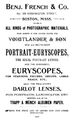 1887 Benj French and Co advert Boston USA.png