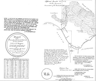 Rancho Corral de Tierra (Vasquez) - Plat of rancho in 1859