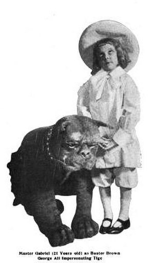 "Buster Brown - 21-year old dwarf actor ""Master Gabriel"" plays the title role of Buster Brown, with George Ali as Tige, in the 1905 Broadway production."