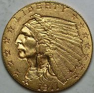 1911-D Indian Head quarter eagle obverse.jpg