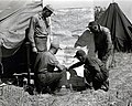 1949. John F. Wear (left, standing; BEPQ), Ace Demers, Walter J. Buckhorn (BEPQ - kneeling, right - pointing), and Amos Smelzer by progress map of western spruce budworm control project. Mt. Hood area, Oregon. (32832847921).jpg
