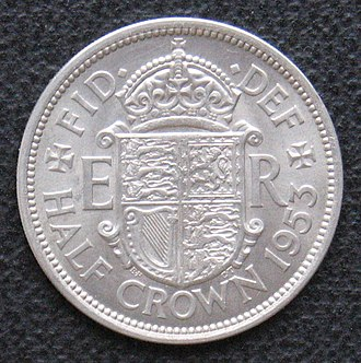 Coins of the pound sterling - Half crown, 1953