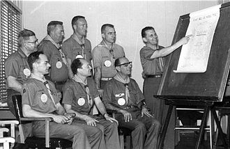 """Wood Badge (Boy Scouts of America) - 1962 Wood Badge staff meeting on the Monterey Peninsula. Front row, L-R Joe McConnell, Alex Szaszy, Tiz Urbani, Bela Banathy; Back row, L-R Joe St. Clair, William """"Bill"""" Sutcliffe, Bob Bowman, Tom Moore. Flipchart says: """"What are we here for? Create, Think, Help, Learn, BECOME"""""""