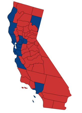 United States Senate election in California, 1986 - Image: 1986 California Senate Counties