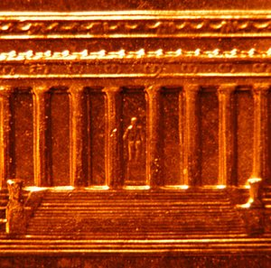 Penny (United States coin) - Detail of reverse showing Lincoln statue inside the memorial