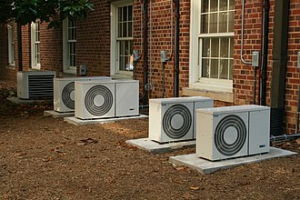 Waste heat - Air conditioning units use electricity which ends up as heat