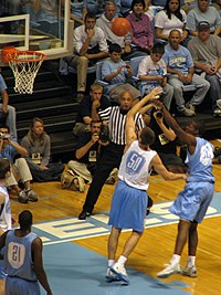 20081024 Ed Davis shoots over Tyler Hansbrough in an intrasquad scrimmage cropped.jpg