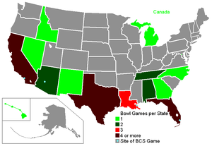 2008–09 NCAA football bowl games - Bowl sites by state