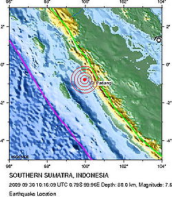 2009-09-30 Sumatra Indonesia earthquake location.jpg