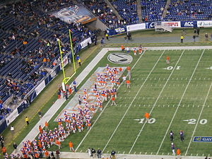 2009 Clemson Tigers football team - The Clemson Tigers take the field during the 2009 Music City Bowl.