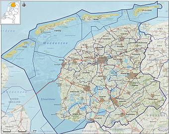 Provincie Friesland, gemeenten per 2012.