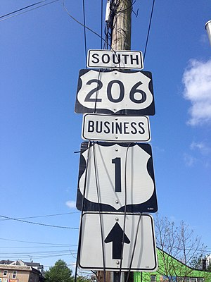 U.S. Route 1 Business (Trenton, New Jersey) - Signage for U.S. Route 206 and U.S. Route 1 Business along MLK Jr. Boulevard in Trenton.  While signed as such, this section is not officially part of U.S. Route 1 Business