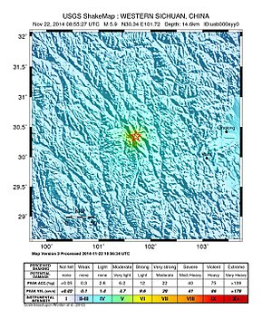 2014 Kangding earthquake - ShakeMap of the earthquake from the United States Geological Survey.