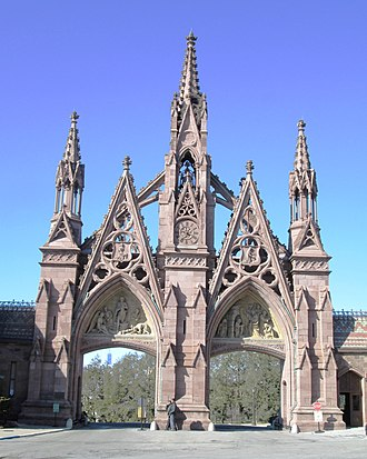 Green-Wood Cemetery - Richard M. Upjohn's Gothic revival northern entrance to the cemetery, built in 1861-65, has been a New York City landmark since 1966. (2015)