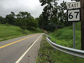 West Virginia Route 67 - View east along WV 67 in Bethany
