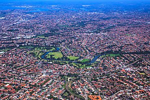 Cooks River - Aerial view of the river and surrounding suburbs