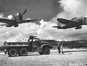 318th Fighter Group - Image: 318th Fighter Group P 47 Thunderbolts East Field Saipan 1944