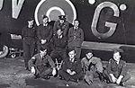 460 Squadron RAAF Halifax and crew at Breighton Aug 1942 AWM P00298.015.jpg