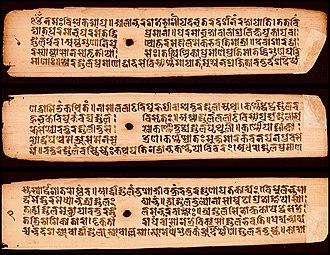 Varāhamihira - Image: 6th century Brihat Samhita of Varahamihira, 1279 CE Hindu text palm leaf manuscript, Pratima lakshana, Sanskrit, Nepalaksara script, folio 1 talapatra from a Buddhist monastery, 1v, 2r 2v leaves