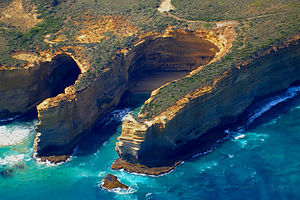 Port Campbell National Park - Aerial view of a gorge