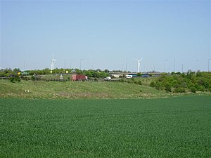 A1231 road - A19/A1231 interchange; the wind turbines are part of the Nissan car plant.