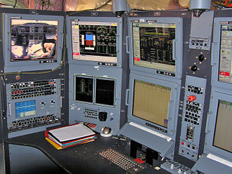 Flight test - Flight test engineer's workstation aboard an Airbus A380 prototype