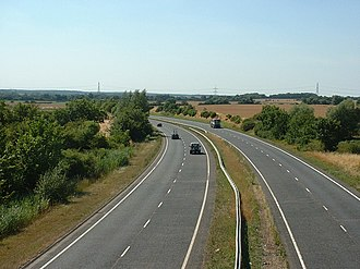 Road transport in Peterborough - The A47 Soke Parkway heading towards Wansford