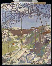 A German Gunners Shelter, Warlencourt Art.IWMART2965