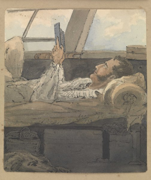 File:A cabin scene with man lying down reading a book RMG PZ4308.tiff