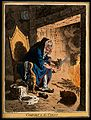 A haggard old woman taking a large file to the corns on her Wellcome V0011168.jpg