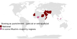 A map showing countries where public stoning is judicial or extrajudicial form of punishment.SVG