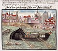 A pleasure boat on the River Rhine at Cologne - Cöler family album (1560-1632), f.29 - BL Add MS 15217.jpg