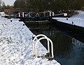 A snowy Aylestone Mill Lock - geograph.org.uk - 1166062.jpg