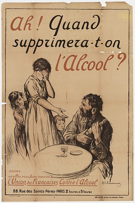 "A French temperance poster from the Union des Francaises contre l'Alcool (this translates as ""Union of French Women Against Alcohol""). The poster states ""Ah! Quand supprimera-t'on l'alcool?"", which translates as ""Ah! When will we [the nation] abolish alcohol?"" A wife asking her drunkard husband to hand over a bottle Wellcome L0067935.jpg"