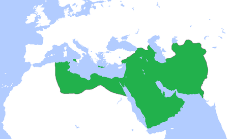 The Abbasid Caliphate at its greatest extent, c. 850. Abbasids850.png