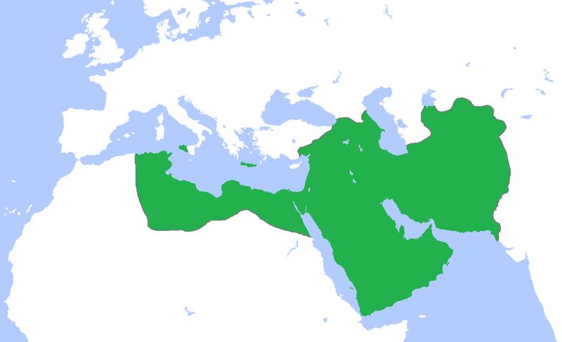 El califato abbasí hacia 850.