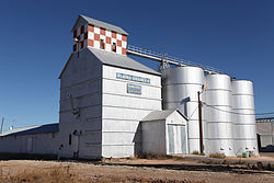 Plains Grain Co. elevator near the tracks