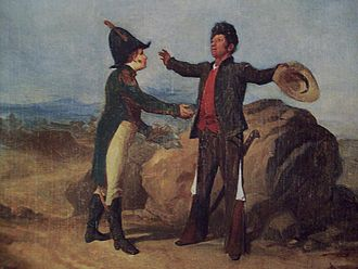 Depiction of the Abrazo de Acatempan between Agustin de Iturbide, left, and Vicente Guerrero Abrazo de Acatempan.JPG