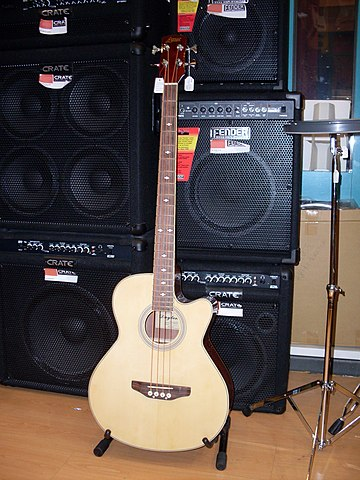 "A music store display showing an acoustic bass guitar and a variety of bass ""combo"" amplifiers and speaker cabinets. Acoustic bass guitar 1.jpg"