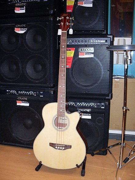 "Music store display showing a variety of bass ""combo"" amplifiers and speaker cabinets. Acoustic bass guitar 1.jpg"