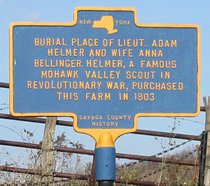 Adam Helmer - Marker at the burial site of Helmer and his wife on the north side of Cottle Road in the Town of Brutus, New York. Their grave stones were moved to the Weedsport Rural Cemetery.