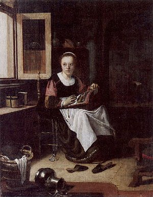 Adriaen van Gaesbeeck - The Seamstress